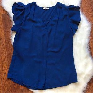 Blue Flutter sleeve Vneck blouse
